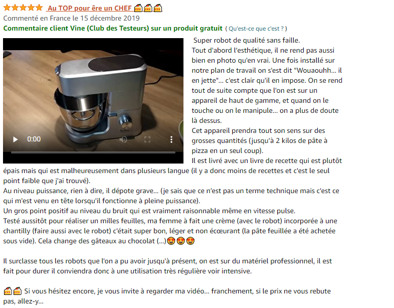 avis 5 étoiles sur le Moulinex-Robot Patissier Masterchef